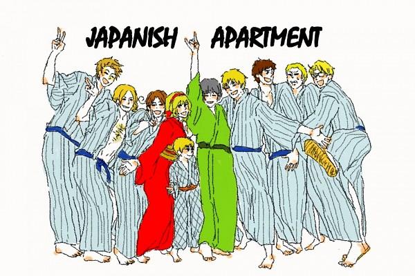 Tags: Anime, Pixiv Id 458280, Axis Powers: Hetalia, France, Belgium, United Kingdom, Japan, United States, Denmark, Germany, Spain, North Italy, Sealand