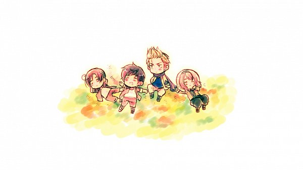 Tags: Anime, Himaruya Hidekaz, Axis Powers: Hetalia, Netherlands, Belgium, South Italy, Spain, Laying on Grass, 1366x768 Wallpaper, Official Art, Wallpaper