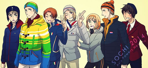 Tags: Anime, Pixiv Id 356824, Axis Powers: Hetalia, Belgium, North Italy, France, Spain, United Kingdom, Netherlands, Germany, Fanart From Pixiv, Pixiv, Olympics