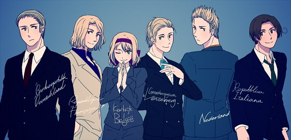 Tags: Anime, Pixiv Id 356824, Axis Powers: Hetalia, North Italy, Luxembourg, France, Netherlands, Belgium, Germany, Reverse Harem, Facebook Cover, Germanic Countries