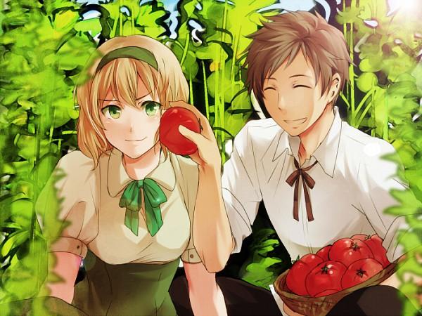 Tags: Anime, Oosugimichiko, Axis Powers: Hetalia, Belgium, Spain, Tomato Plant
