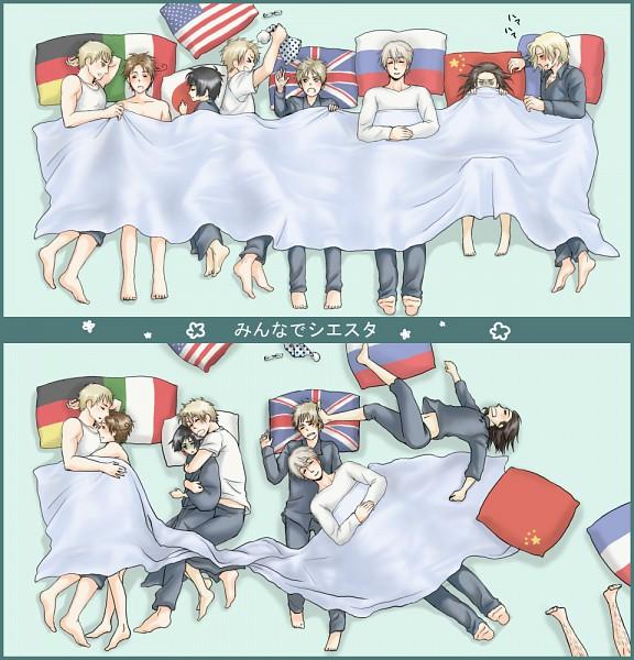 Tags: Anime, Hachi (Pixiv 934633), Axis Powers: Hetalia, Germany, Japan, North Italy, Russia, United Kingdom, China, United States, France, Arm Pillow, Flag Print