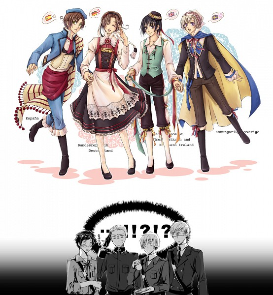 Tags: Anime, Yuki (Port Fairy), Axis Powers: Hetalia, Germany, Finland, North Italy, Sweden, Japan, Spain, South Italy, United Kingdom, Dirndl, Confused