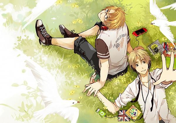 Tags: Anime, Saiyki, Axis Powers: Hetalia, United Kingdom, United States, CD (Object), iPod, PSP, Fanart, Fanart From Pixiv, Pixiv, Allied Forces