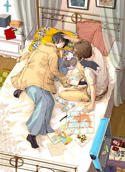Tags: Anime, Minominota, Axis Powers: Hetalia, Japancat, Japan, Greece, Greececat, Map, Nekotalia, Mobile Wallpaper, Fanart, Pixiv, GiriPan