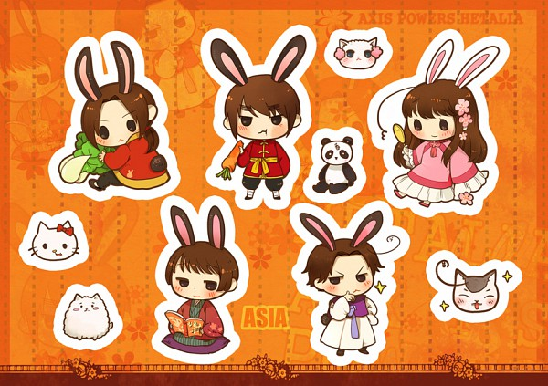 Tags: Anime, Neko Manjuu, Axis Powers: Hetalia, China, Taiwancat, Hong Kong, Koreacat, Japan, South Korea, Taiwan, Fanart, Nekotalia, Pixiv