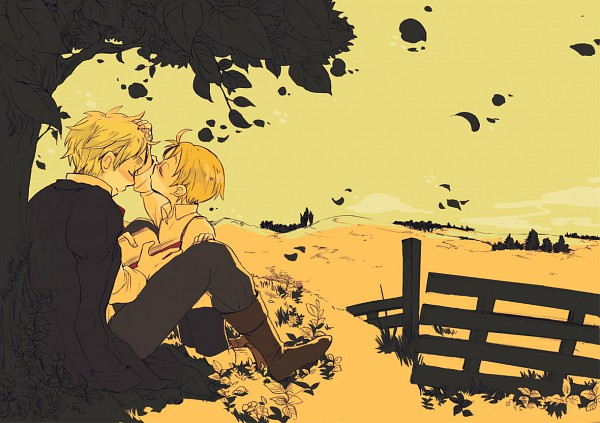 Tags: Anime, Pixiv Id 1324853, Axis Powers: Hetalia, United States, United Kingdom, Yellow, Under A Tree, Pixiv, Fanart, Fanart From Pixiv, Allied Forces