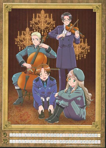 Tags: Anime, Kannan Masaaki, Studio DEEN, Axis Powers: Hetalia, North Italy, Hungary, Austria, Germany, Chandelier, Cello, Scan, Calendar 2010, Mobile Wallpaper