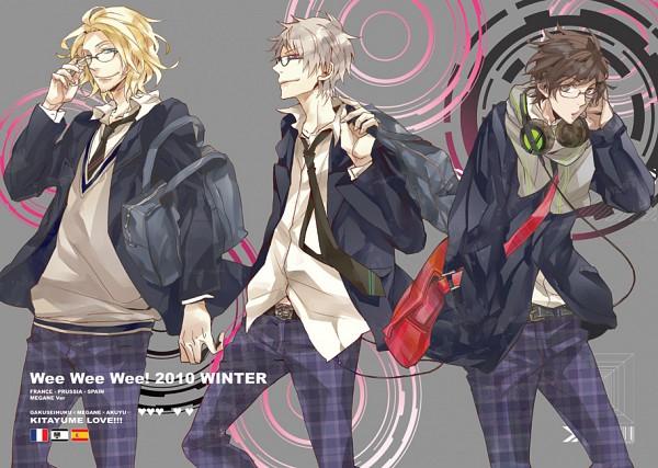 Tags: Anime, Taka Tsuki, Axis Powers: Hetalia, Spain, Prussia, France, Messenger Bag, Pixiv, Fanart, Doujinshi Cover, Gakuen Hetalia
