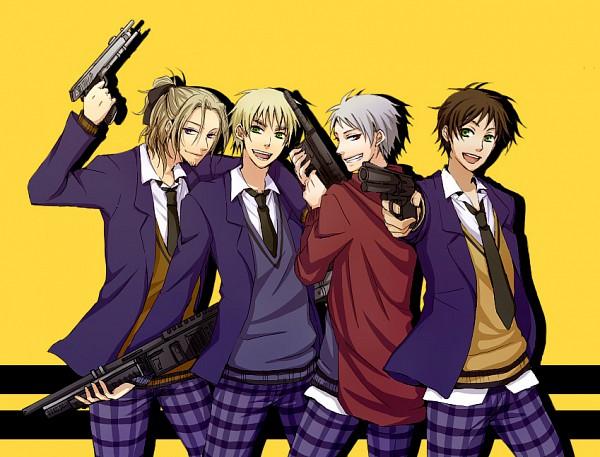 Tags: Anime, Pixiv Id 149822, Axis Powers: Hetalia, Spain, United Kingdom, Prussia, France, Gakuen Hetalia, Fanart