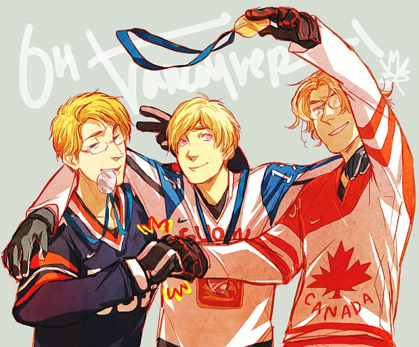 Tags: Anime, Axis Powers: Hetalia, Finland, Canada, United States, Medal, Celebrate, Hockey, Artist Request, Olympics, Allied Forces, Nordic Countries