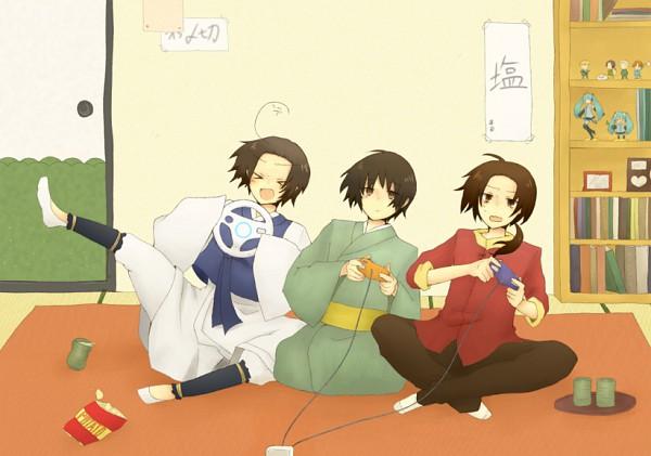 Tags: Anime, Pixiv Id 285473, Axis Powers: Hetalia, VOCALOID, Japan, South Korea, China, Hatsune Miku, >w<, Chips, Hanbok, Rug, Merchandise