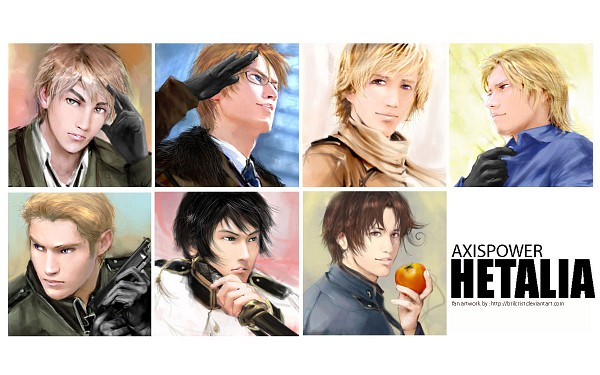 Tags: Anime, Brilcrist, Axis Powers: Hetalia, North Italy, Russia, United Kingdom, France, United States, Japan, Germany, Wallpaper, deviantART, Mediterranean Countries