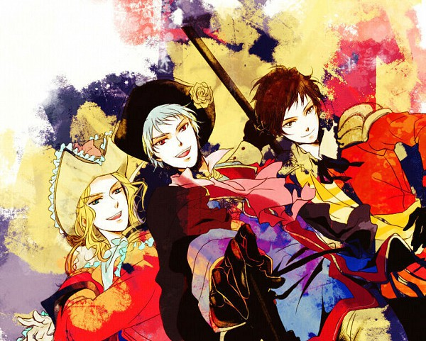 Tags: Anime, Farah, Axis Powers: Hetalia, Spain, Prussia, France, Fanart, Fanart From Pixiv, Pixiv, Germanic Countries, Mediterranean Countries, Allied Forces