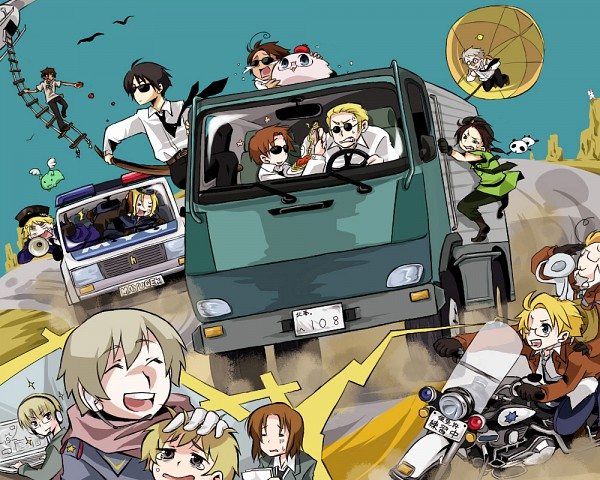 Tags: Anime, Pixiv Id 801247, Axis Powers: Hetalia, Lithuania, South Italy, France, United States, Russia, Flying Mint Bunny, Japan, Germany, Tonni, Estonia