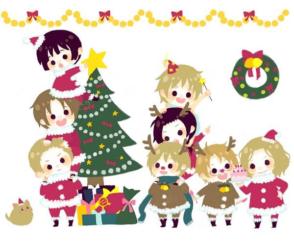 Tags: Anime, Nekomari, Axis Powers: Hetalia, Russia, United Kingdom, China, United States, France, Germany, Japan, North Italy, Reindeer Costume, Wreath