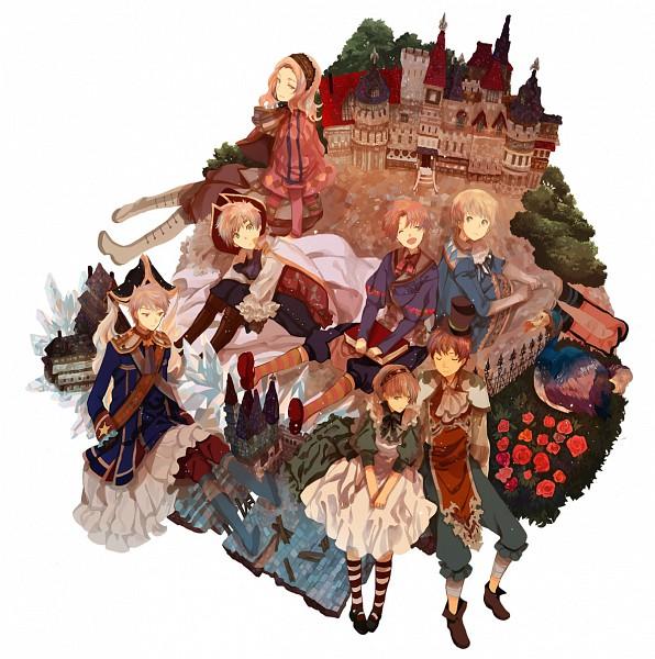 Tags: Anime, Okazaki Oka, Axis Powers: Hetalia, Spain, France, United Kingdom, Germany, North Italy, Chibimano, South Italy, Prussia, Mediterranean Countries, Axis Power Countries