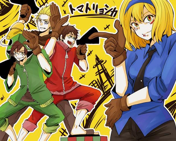 Tags: Anime, Pixiv Id 1486897, Axis Powers: Hetalia, Spain, Netherlands, Belgium, South Italy, Bunny Ear Gesture, Pixiv, Matryoshka, Fanart