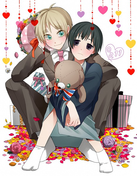 Tags: Anime, Plico (Nicoma), Axis Powers: Hetalia, United Kingdom, Japan, Flag Print, Hanging Heart, Fanart, Pixiv, Axis Power Countries, Allied Forces, Asian Countries