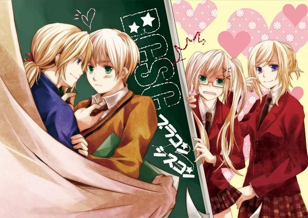 Tags: Anime, Kashi Nogi, Axis Powers: Hetalia, United Kingdom, France, United Kingdom (Female), France (Female), Chalkboard, Gakuen Hetalia, Nyotalia, Pixiv, Fanart