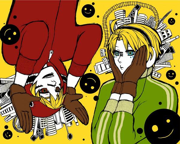 Tags: Anime, Pixiv Id 2211140, Axis Powers: Hetalia, United Kingdom, United States, Railroad Tracks, Bunny Ear Gesture, Matryoshka, Fanart, Pixiv