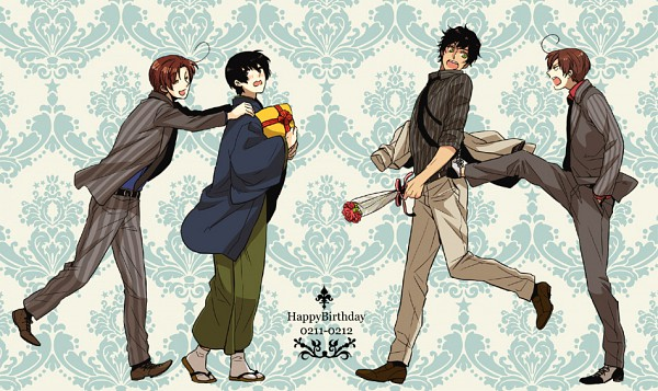 Tags: Anime, Mametsuko, Axis Powers: Hetalia, Spain, North Italy, Japan, South Italy, Pinstripe Suit, Pixiv, Fanart, Axis Power Countries, Asian Countries, Mediterranean Countries
