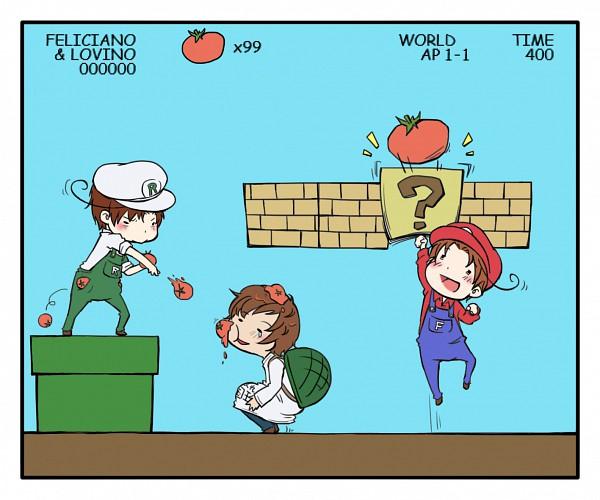 Tags: Anime, Pixiv Id 190668, Axis Powers: Hetalia, Spain, North Italy, South Italy, Super Mario Bros. (Parody), Luigi (Cosplay), Mario (Cosplay), Mediterranean Countries, Axis Power Countries