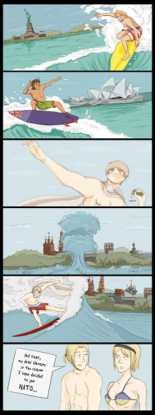 Tags: Anime, Soundofcolor, Axis Powers: Hetalia, United States, Australia, Ukraine, Russia, Poland, Surfing, Grenade, Swimsuit Under Clothes, Comic, deviantART