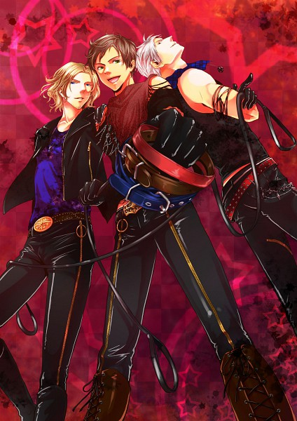Tags: Anime, K-anzu, Axis Powers: Hetalia, Spain, Prussia, France, Mobile Wallpaper, Mediterranean Countries, Allied Forces