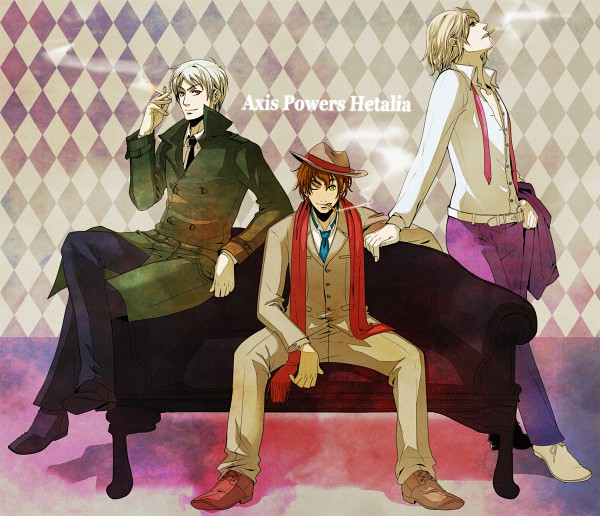 Tags: Anime, Pixiv Id 5167, Axis Powers: Hetalia, Spain, Prussia, France, Trench Coat, Mafia, Pixiv, Mediterranean Countries, Allied Forces
