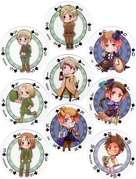 Tags: Anime, Himaruya Hidekaz, Axis Powers: Hetalia, Thailand, Lithuania, Poland, Russia, United Kingdom, Estonia, United States, China, Latvia, Clubs (Card)