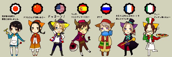 Tags: Anime, Axis Powers: Hetalia, United States, Japan, North Italy, Russia, China, Spain, France, The Doraemons (Cosplay), Twitter Header