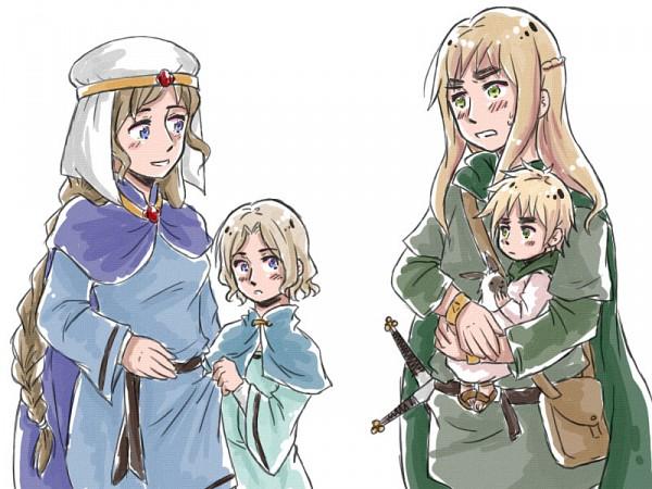 Tags: Anime, Fir3h34rt, Axis Powers: Hetalia, Gaul (Axis Powers: Hetalia), United Kingdom (Female), France (Female), United Kingdom, France, Hibernia, Gaule, Pixiv, Nyotalia, Allied Forces