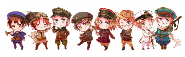 Tags: Anime, Himaruya Hidekaz, Axis Powers: Hetalia, China, United States, France, Germany, Japan, North Italy, Russia, United Kingdom, Official Art, Axis Power Countries