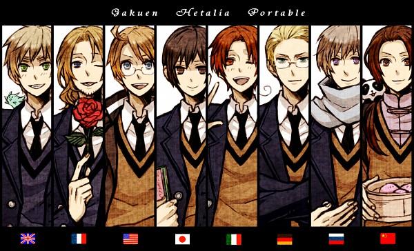 Tags: Anime, Pixiv Id 909240, Axis Powers: Hetalia, France, Germany, Japan, North Italy, Russia, Flying Mint Bunny, United Kingdom, China, United States, Gakuen Hetalia
