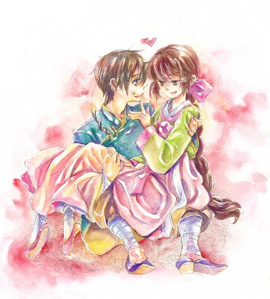 Tags: Anime, Axis Powers: Hetalia, South Korea, South Korea (Female), Taiwan (Male), Taiwan, Nyotalia, Traditional Media, Asian Countries