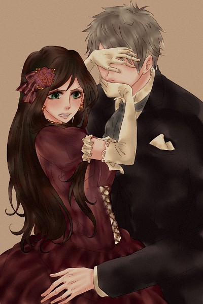 Tags: Anime, Cachico, Axis Powers: Hetalia, Prussia, Hungary, Hand Over One Eye, Fanart From Pixiv, Fanart, Pixiv, Mobile Wallpaper