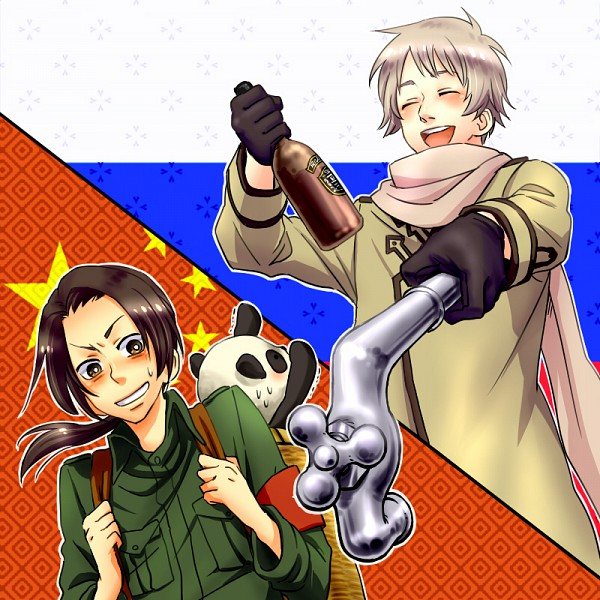 Tags: Anime, Pixiv Id 222950, Axis Powers: Hetalia, Russia, China, Flag Background, Pipe (Plumbing), Vodka, Allied Forces, Asian Countries, Soviet Union