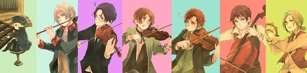 Tags: Anime, gorogoronyanko, Axis Powers: Hetalia, Poland, Friedrich II, Spain, Austria, Holy Roman Empire, Germany, South Italy, North Italy, Organ (Instrument), Cello