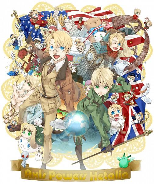 Tags: Anime, Pixiv Id 314533, Axis Powers: Hetalia, France, Tonni, Canada, Americat, United Kingdom, Flying Mint Bunny, Mochimerica, United States, Britannia Angel, Kumajirou
