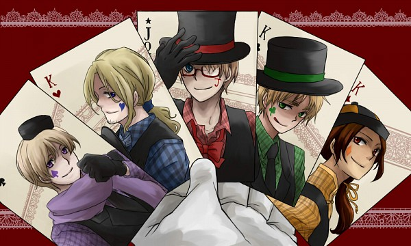 Tags: Anime, Pixiv Id 2536631, Axis Powers: Hetalia, VOCALOID, France, United Kingdom, United States, Russia, China, Clubs (Card), Spade (Card), Poker Face, Soviet Union