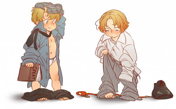 Tags: Anime, Axis Powers: Hetalia, Canada, United States, Oversized Clothes, Striped Pants, Allied Forces