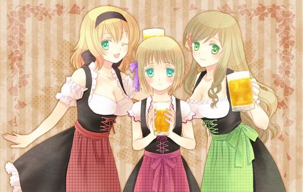 Tags: Anime, Noya / のや, Axis Powers: Hetalia, Belgium, Hungary, Liechtenstein, Oktoberfest, Dirndl