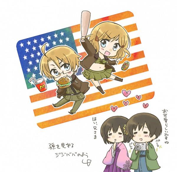 Tags: Anime, Nyosuke, Axis Powers: Hetalia, Japan (Female), United States (Female), United States, Japan, Hot Dog, Flag Background, McDonald's Meal, Nyotalia, Fanart, Pixiv