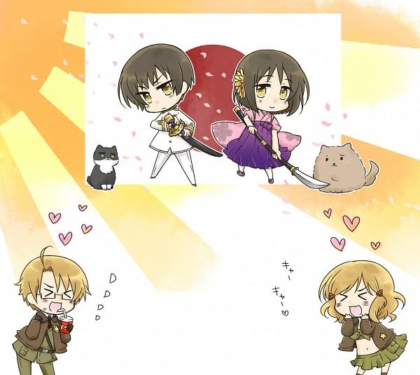 Tags: Anime, Nyosuke, Axis Powers: Hetalia, Japancat, Russiacat, United States, Japan (Female), Pochi-kun, United States (Female), Japan, Flag Background, Naginata, Rising Sun Motif