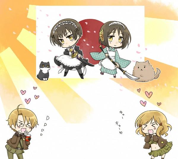 Tags: Anime, Nyosuke, Axis Powers: Hetalia, Russiacat, United States (Female), Japan (Female), United States, Japancat, Japan, Flag Background, Nyotalia, Fanart, Pixiv