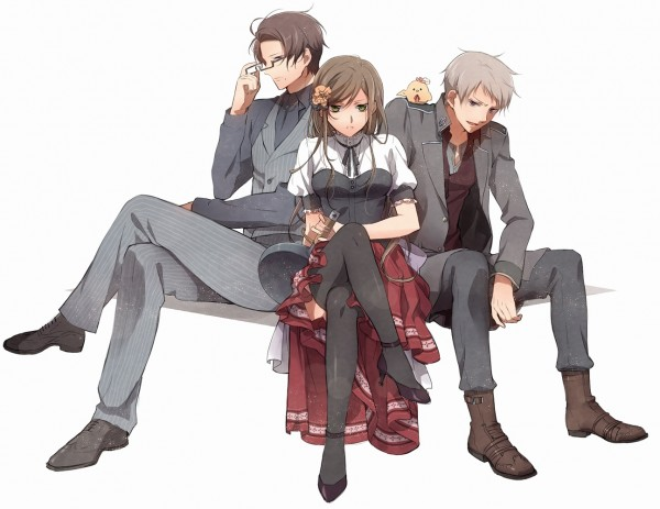 Tags: Anime, Murakami Yuichi, Axis Powers: Hetalia, Austria, Prussia, Hungary, Gilbird, Bird on Shoulder, Cooking Pan, Pixiv, Fanart, Germanic Countries
