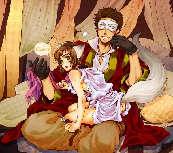 Tags: Anime, Axis Powers: Hetalia, Greece, Turkey, Tunic, Half Mask, Fanart, Pixiv, Mediterranean Countries
