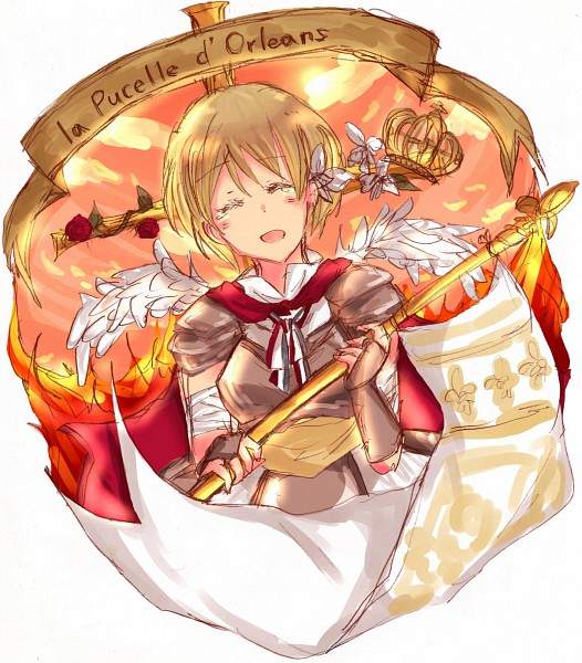 Tags: Anime, Axis Powers: Hetalia, Jeanne d'Arc (Axis Powers: Hetalia), Pink Sky, Banner, Soldier