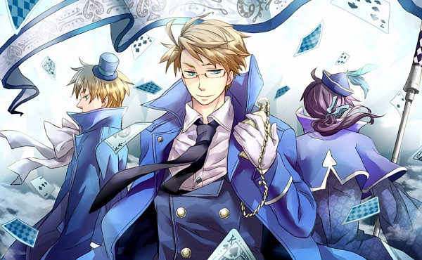 Tags: Anime, Pixiv Id 1902453, Axis Powers: Hetalia, China, United Kingdom, United States, Spade (Card), Pocket Watch, Cardverse, Pixiv, Fanart, Allied Forces, Asian Countries